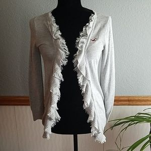 Hollister small gray cardigan with ruffles